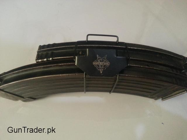 Universal magzine clipper. Holds Ak47 (russian+Chinese)magazines as well as M4 and M16 magzines